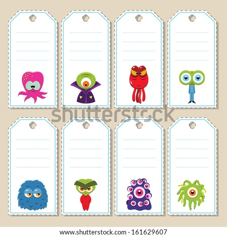gift tags with funny cartoon