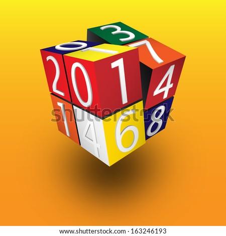 2014 rubik cube   eps10 vector