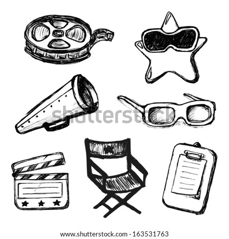 cinema doodles vector icons