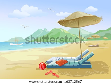 beach with chaise lounges