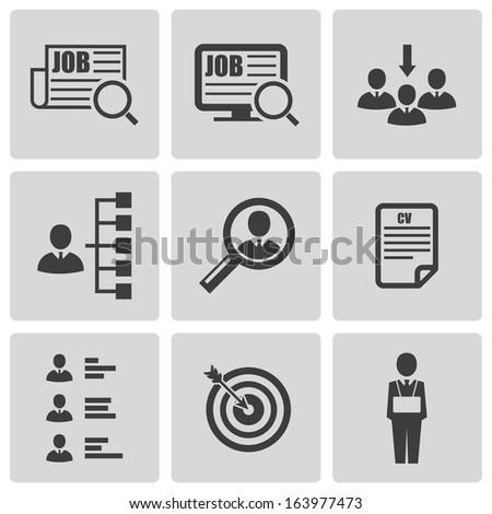 vector black job search icons