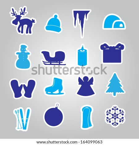 winter and xmas icon stickers