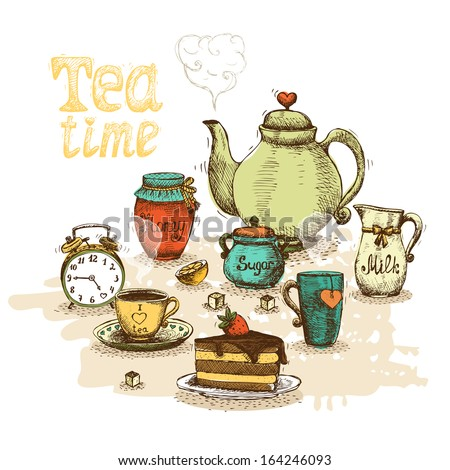 tea time still life set vector