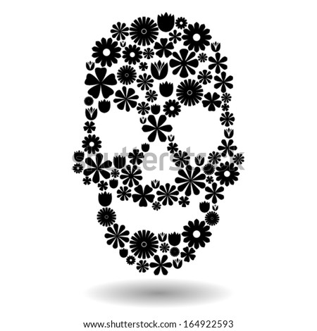 skull shape made of many black