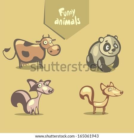 funny vector animals  cow