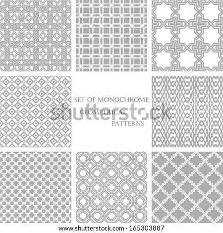 set of 8 monochrome geometrical