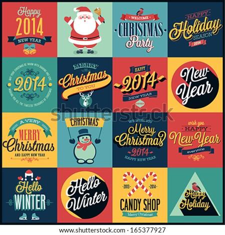 christmas set   labels  emblems
