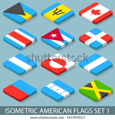 flat isometric american flags