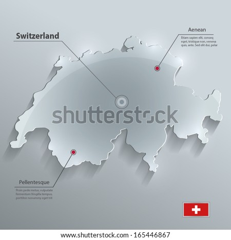 switzerland map glass card