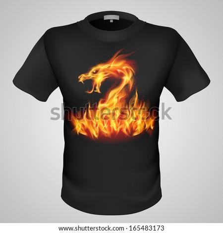 black male t shirt with fiery