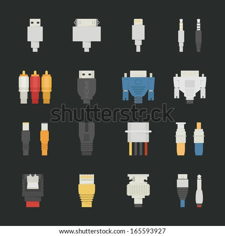 cable wire computer icons with