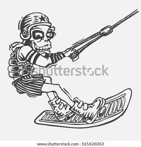 wakeboarder in helmet and life