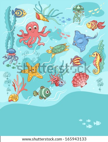 sea life card blue template