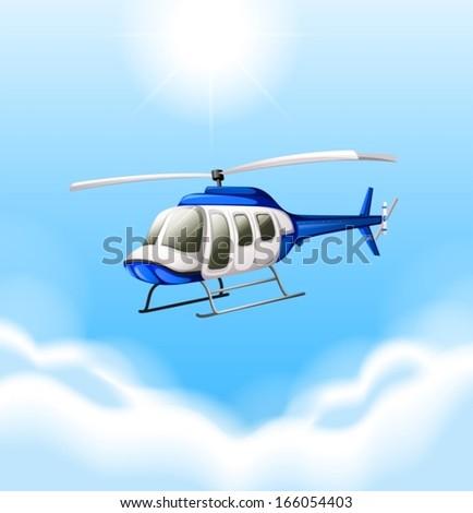 illustration of a chopper flying