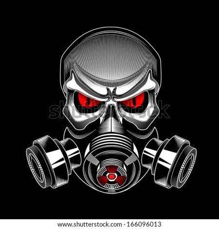 skull wearing a gas mask