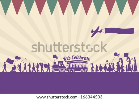 silhouette of people parade
