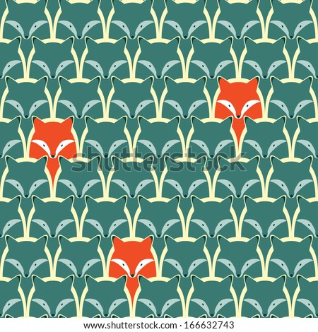 seamless pattern with fox and
