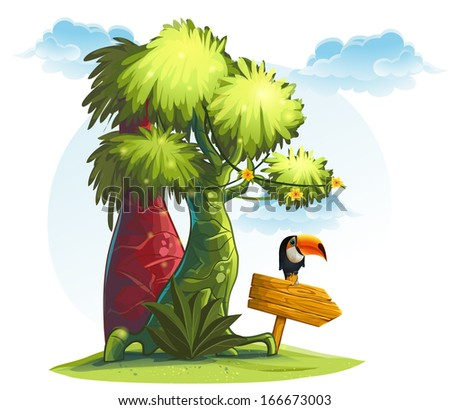 illustration jungle trees with