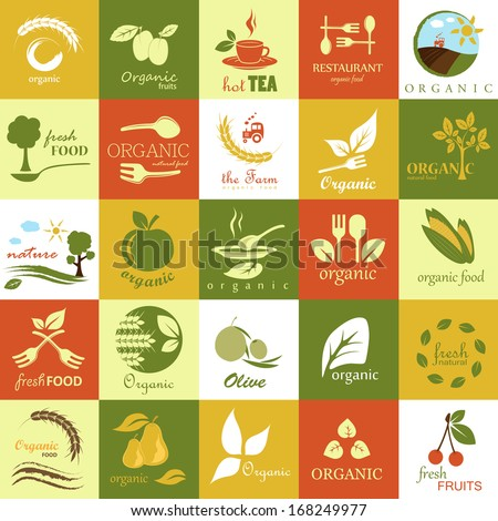 organic icons set   isolated on