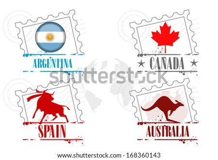 stamps 4 countries