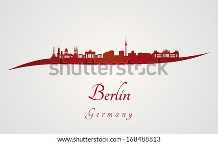 berlin skyline in red and gray