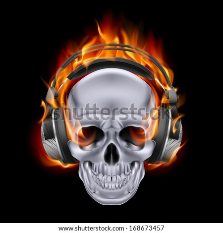 flaming skull in headphones on
