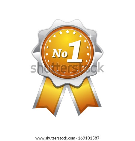 no 1 yellow seal vector icon
