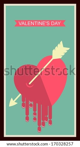 poster love in retro style with