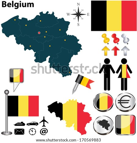 vector set of belgium country