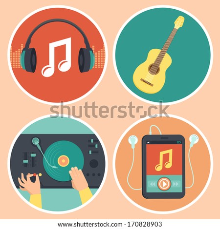 vector music icons and signs in