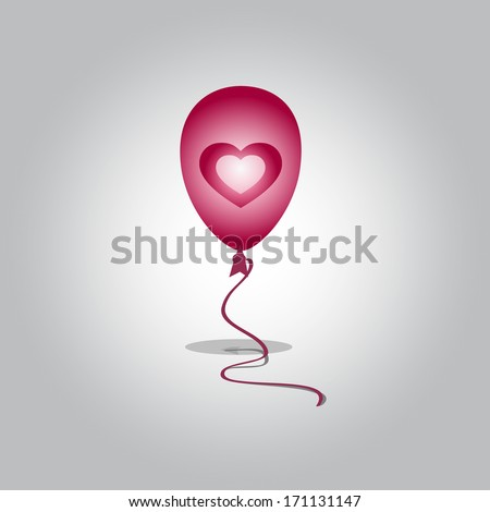 flying balloon with heart