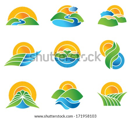 set of landscape symbols and
