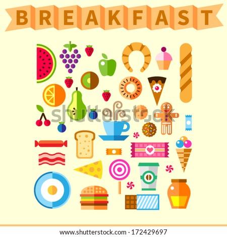 good breakfast flat icon set in