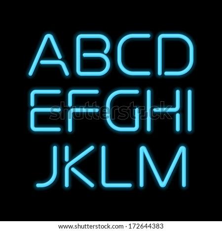 3d realistic blue neon letters