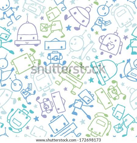 fun doodle robots seamless