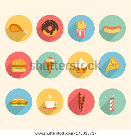 fast food colorful flat design