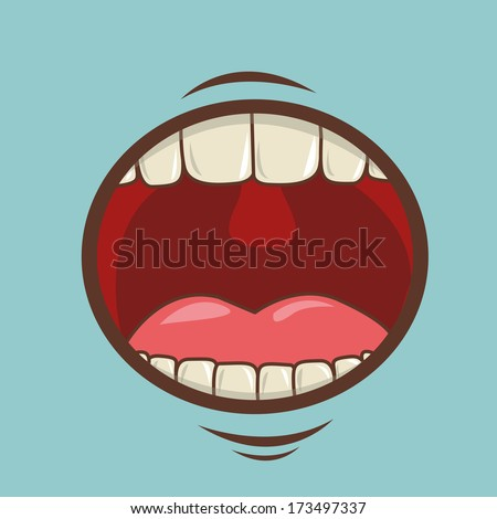 mouth design over blue