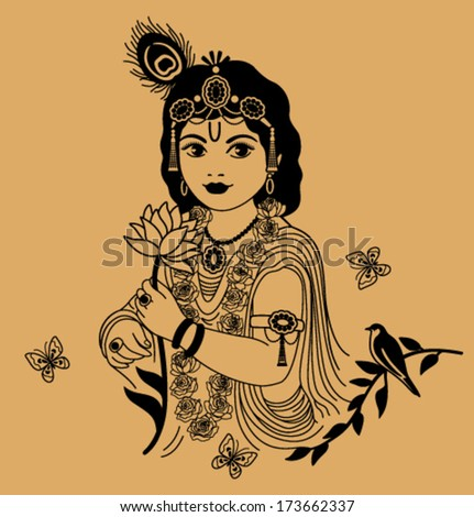 krishna with small flower on a