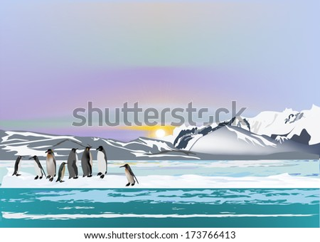 illustration with penguins in