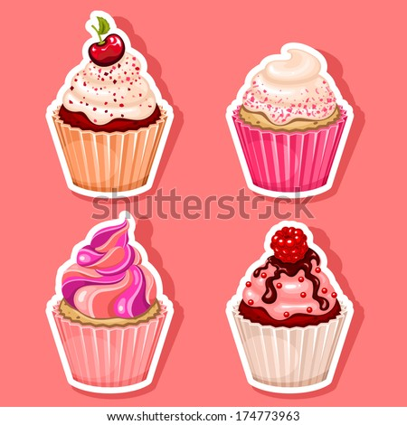 vector cupcake icon stickers
