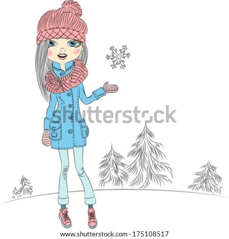 vector fashionable hipster girl