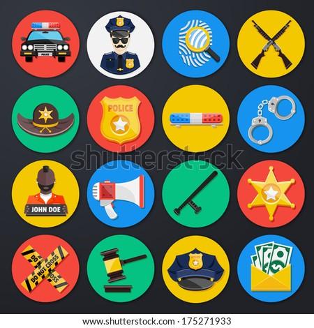 police icons set