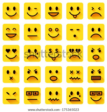 vector icons of smiling faces