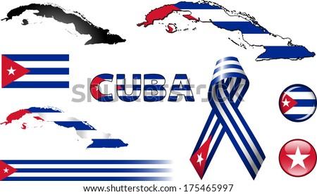 cuba icons set of vector