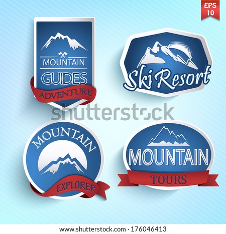 mountain icons set mountain