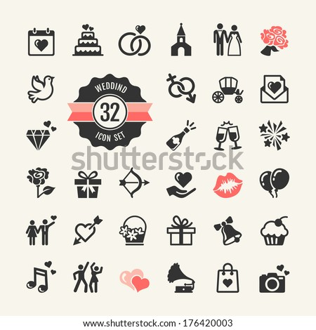 web icon set   wedding