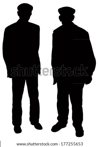 two old poor men silhouette