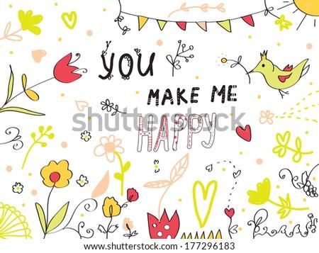 you make me happy greeting card