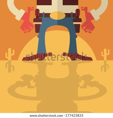 cowboy with gunsvector flat