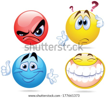 vector of four smileyfaces